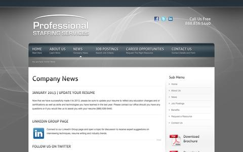 Screenshot of Press Page pssinsurance.com - Staffing News | Professional Staffing Services - captured Oct. 3, 2014