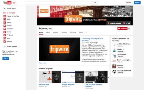 Screenshot of YouTube Page youtube.com - Tripwire, Inc.  - YouTube - captured Oct. 22, 2014