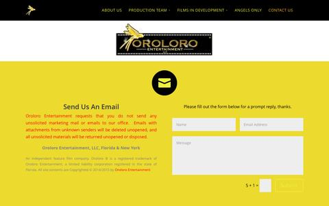 Screenshot of Contact Page oroloroentertainment.com - Contact Oroloro ® - captured Feb. 28, 2016