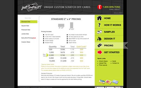 Screenshot of Pricing Page justscratchit.com - Just Scratch It!® - Pricing | Standard Size - captured Oct. 6, 2014