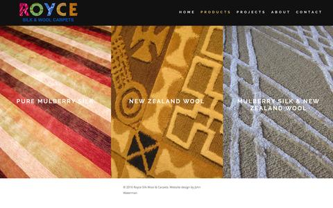 Screenshot of Products Page roycewoolcarpets.com - Products - Royce Custom Carpets - captured Feb. 24, 2016