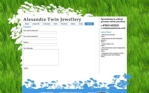 Screenshot of Contact Page alexandratwin.co.uk - Contact «  Alexandra Twin Jewellery - captured Oct. 4, 2014