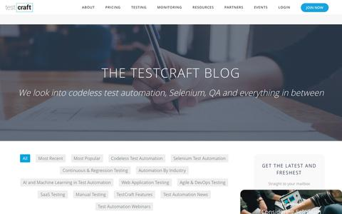 Screenshot of Blog testcraft.io - Blog | TestCraft - captured Aug. 16, 2019