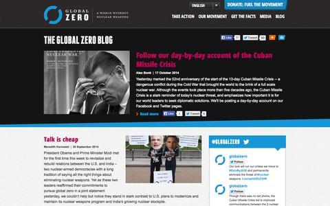 Screenshot of Blog globalzero.org - Blog   Global Zero - captured Oct. 28, 2014