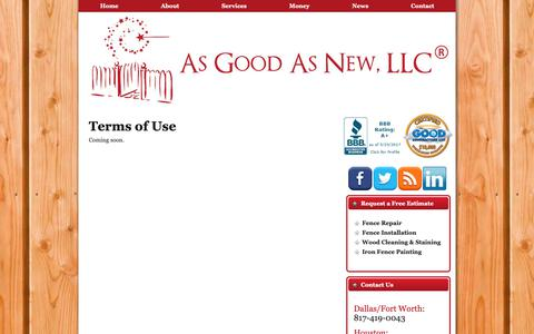 Screenshot of Terms Page asgoodasnewfence.com - Terms of Use   As Good As New Fence - captured Oct. 4, 2018