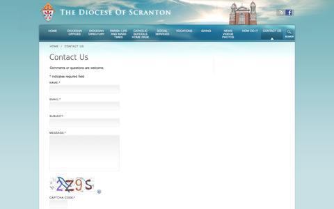 Screenshot of Contact Page dioceseofscranton.org - Contact Us «  THE DIOCESE OF SCRANTON - captured Sept. 18, 2014