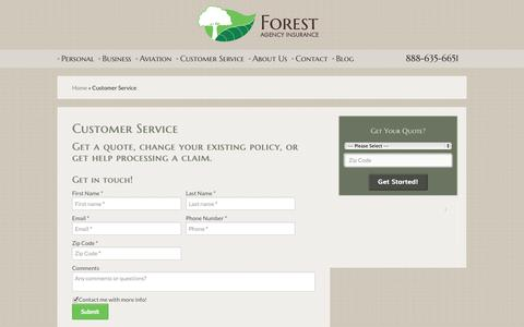 Screenshot of Support Page forestagency.com - Customer Service | Forest Agency - captured Oct. 1, 2014