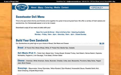 Screenshot of Menu Page sweetwaterdeli.com - Sweetwater Deli - Menu - captured Oct. 9, 2014