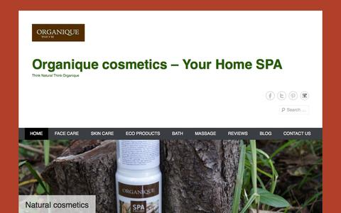 Screenshot of Home Page Menu Page organiquetouch.com.au - | Organique cosmetics - Your Home SPA | Think Natural Think Organique - captured Oct. 6, 2014
