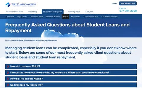 Screenshot of FAQ Page takechargeamerica.org - Student Loans & Repayment Frequently Asked Questions (FAQ) - TCA - captured Dec. 3, 2016