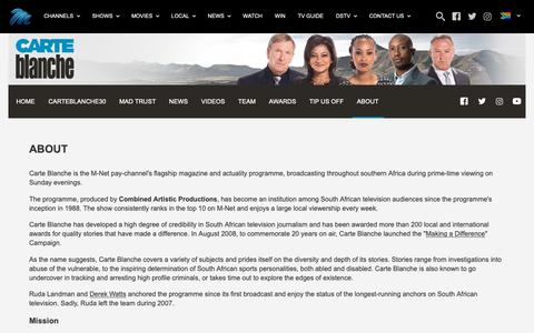 Screenshot of About Page dstv.com - Carte Blanche - captured Nov. 5, 2018
