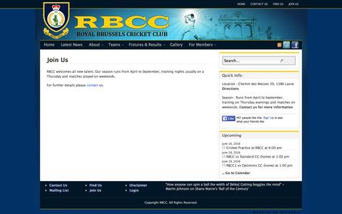 Screenshot of Signup Page rbcc.be - Join Us - captured June 13, 2016