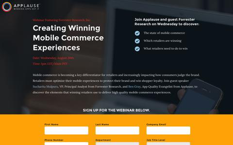 Screenshot of Landing Page applause.com - Webinar: Creating Winning Mobile Commerce Experiences - captured Aug. 12, 2016