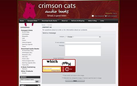 Screenshot of Contact Page crimsoncats.co.uk - Contact us - Crimson Cats - captured Oct. 1, 2014