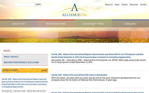 Screenshot of Press Page aointl.com - Alliance One International :: News - captured Feb. 10, 2018