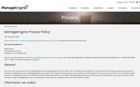 ManageEngine Privacy Policy