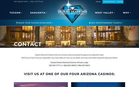 Screenshot of Contact Page ddcaz.com - Contact | Desert Diamond Casinos - captured Oct. 8, 2018