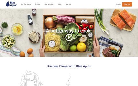 Screenshot of Home Page blueapron.com - Blue Apron: Fresh Ingredients, Original Recipes, Delivered to You - captured Oct. 27, 2016