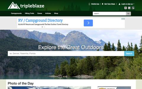 Screenshot of Home Page tripleblaze.com - Go Hiking & Backpacking | Hiking Trails, Trekking, Camping || Tripleblaze.com Backpacking & Hiking || Tripleblaze.com Camping & Hiking - captured Nov. 17, 2015