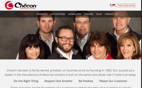 Screenshot of About Page checon.com - About Us - captured Jan. 27, 2016