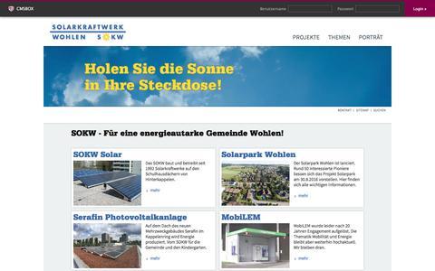 Screenshot of Login Page sokw.ch - Solarkraftwerk Wohlen - captured Dec. 1, 2016