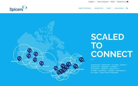 Screenshot of Locations Page spicers.ca - Locations - Scaled to Connect - 13 Warehouses Across Canada - Spicers Canada - captured Aug. 9, 2017