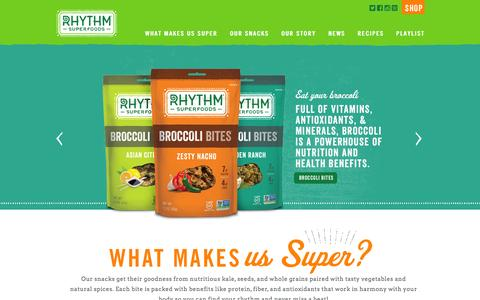 Screenshot of Home Page rhythmsuperfoods.com captured Jan. 28, 2016