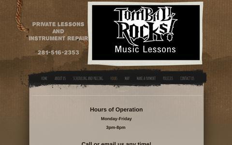 Screenshot of Hours Page tomballrocks.com - Hours - captured July 9, 2018