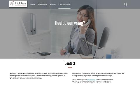 Screenshot of Contact Page dhmp.nl - Contact    De Haan Management Partners - captured Nov. 13, 2018