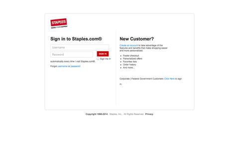 Screenshot of Login Page staples.com - It's easy to find the Office Supplies, Copy Paper, Furniture, Ink, Toner, Cleaning Products, Electronics and the Technology you need | Make More Happen at Staples® - captured Sept. 17, 2014
