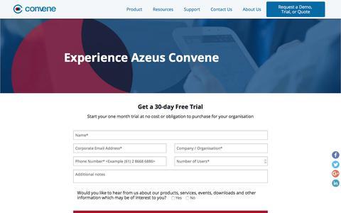 Screenshot of Trial Page azeusconvene.com - Get a 30-day Free Trial | Azeus Convene - captured July 30, 2018