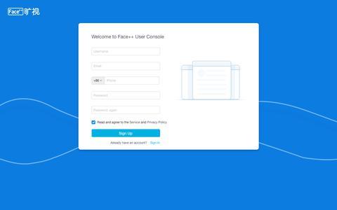 Screenshot of Signup Page faceplusplus.com - Face++ - captured Jan. 15, 2018