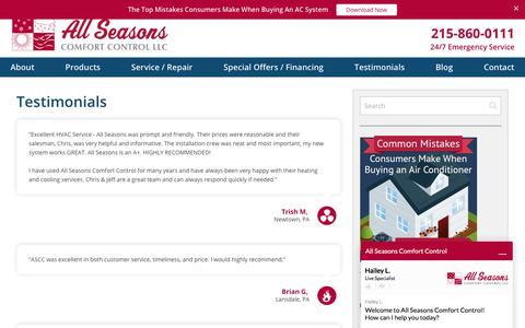 Screenshot of Testimonials Page allseasonscomfortcontrol.com - HVAC Testimonials · All Seasons Comfort Control, LLC - captured July 29, 2018