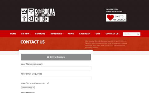 Screenshot of Contact Page cnchurch.org - Contact Us – Cordova Neighborhood Church - captured Aug. 29, 2017
