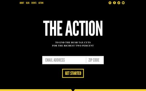 Screenshot of Home Page theaction.org - The Action: End the Bush Tax Cuts for the Wealthy - captured Sept. 30, 2014
