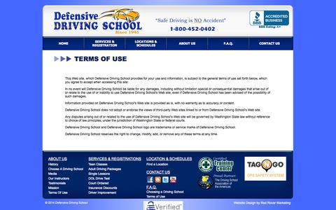 Screenshot of Terms Page driving-school.com - Defensive Driving School, Seattle, Bellevue, Redmond, Issaquah, Kent, Everett, Lake Stevens, Lynnwood, Edmonds, Monroe, Snohomish, Woodinville - captured Oct. 1, 2014