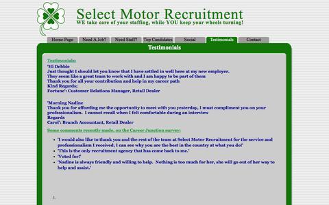 Screenshot of Testimonials Page selectmotor.co.za - Testimonials - captured Feb. 4, 2016