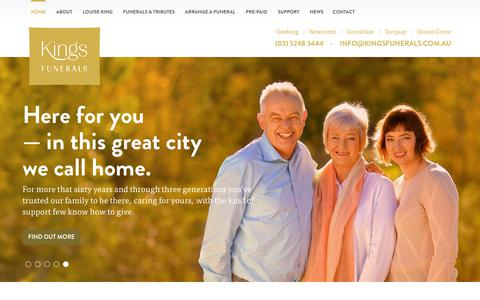 Screenshot of Home Page kingsfunerals.com.au - Home - Kings Funerals - Serving Geelong, Newcomb, Grovedale, Torquay, The Bellarine Peninsula And The Surf Coast - captured Sept. 20, 2018
