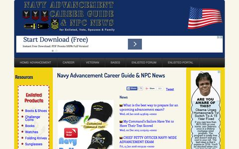 Screenshot of Home Page navyadvancement.com - Navy Advancement Career Guide and NPC News - captured Jan. 15, 2016