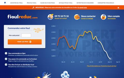 Screenshot of Home Page fioulreduc.com - Votre fioul moins cher sur internet - FioulReduc - captured Aug. 3, 2015