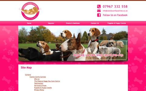 Screenshot of Site Map Page clairescomfycanines.co.uk - Site Map : Claire Hunter - captured July 19, 2018