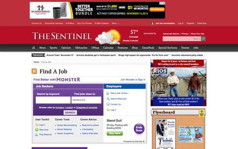 Screenshot of Jobs Page hanfordsentinel.com - Find a Job - captured Nov. 1, 2014