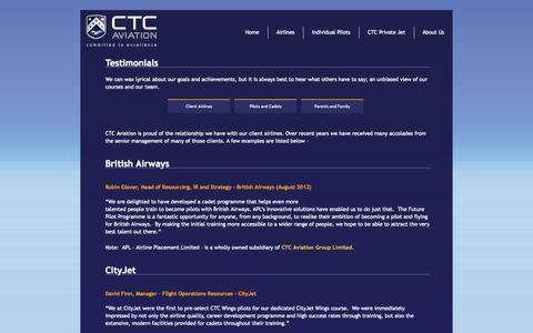 Screenshot of Testimonials Page ctcaviation.com - Testimonials - CTC Aviation - captured Oct. 1, 2014