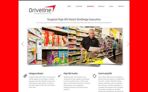 Screenshot of Services Page drivelineretail.com - DRIVELINE RETAIL - DRIVING YOUR BUSINESS - captured Oct. 30, 2014