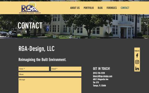 Screenshot of Contact Page rga-design.com - Contact | RGA Design | Architect - captured Oct. 20, 2018