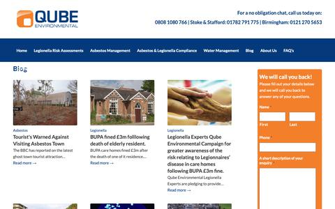 Screenshot of Blog qube-uk.co.uk - Blog about Asbestos and Legionella | Qube - captured Sept. 30, 2018