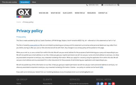 Screenshot of Privacy Page qxltd.com - Privacy policy | QX Limited - captured July 11, 2016