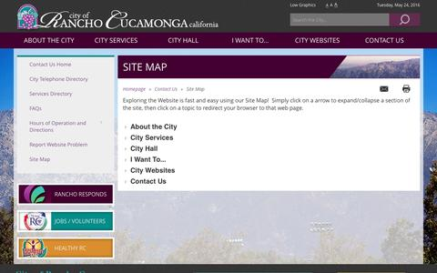 Screenshot of Site Map Page cityofrc.us - Rancho Cucamonga - Site Map - captured May 24, 2016
