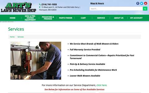 Screenshot of Services Page artslawnmowershop.com - Services Art's Lawn Mower Shop Florissant, MO (314) 741-1055 - captured Oct. 4, 2018