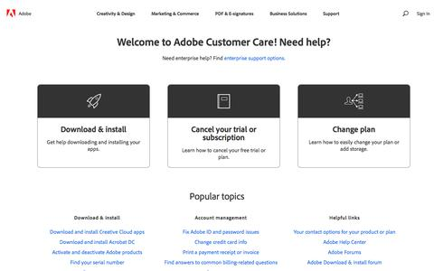 Screenshot of Contact Page adobe.com - Contact Customer Care - captured Dec. 5, 2019